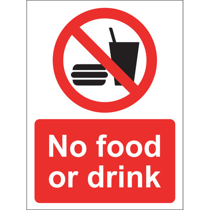 No Food or Drink Sign, Vinyl 15x20cm
