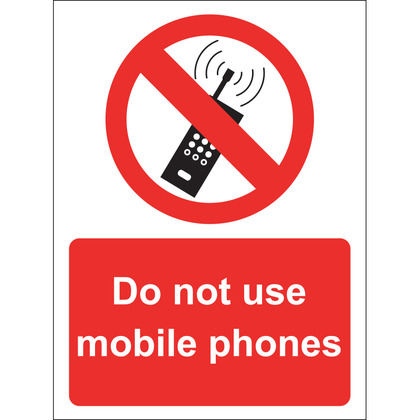 Do Not Use Mobile Phones Sign, Vinyl 15x20cm