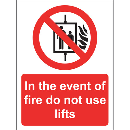 In The Event Of Fire Do Not Use Lifts Sign, Vinyl 15x20cm