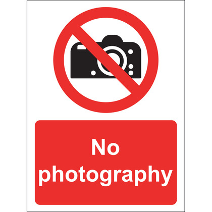 No Photography Sign, Vinyl 15x20cm