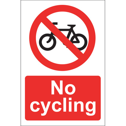 No Cycling Sign, Rigid 20x30cm