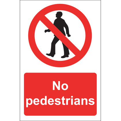 No Pedestrians Sign, Rigid 20x30cm