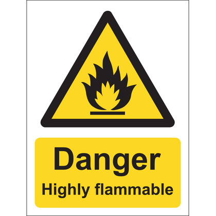 Danger Highly Flammable Sign, Vinyl, 15x20cm
