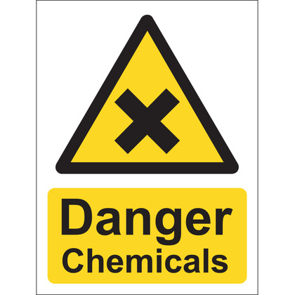Danger Chemicals Sign, Vinyl, 15x20cm