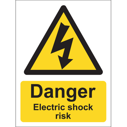Danger Electric Shock Risk Sign, Vinyl, 15x20cm