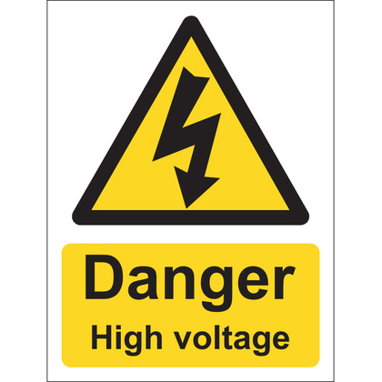 Danger High Voltage Sign, Vinyl, 15x20cm