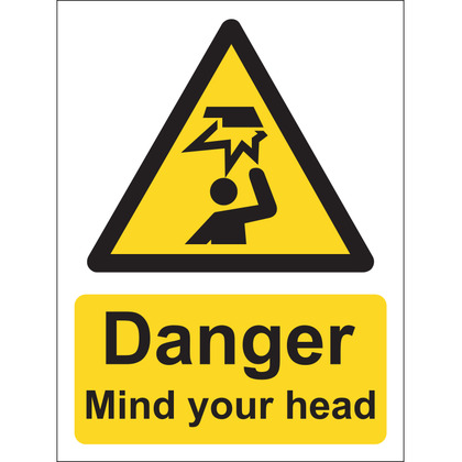 Danger Mind Your Head Sign, Vinyl, 15x20cm