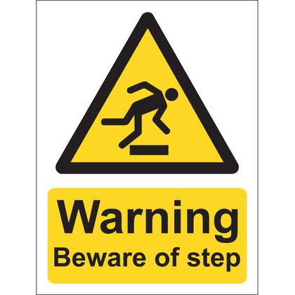 Warning Beware Of The Step Sign, Vinyl, 15x20cm