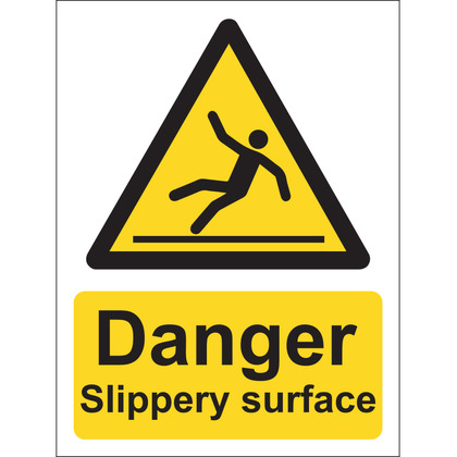 Danger Slippery Surface Sign, Vinyl, 15x20cm