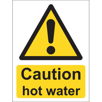Caution Hot Water Sign, Vinyl, 15x20cm