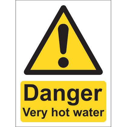 Danger Very Hot Water Sign, Vinyl, 15x20cm