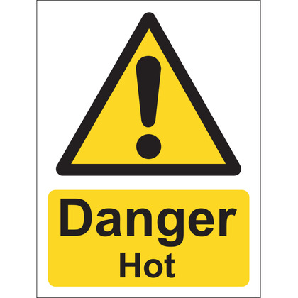 Danger Hot Sign, Vinyl, 15x20cm