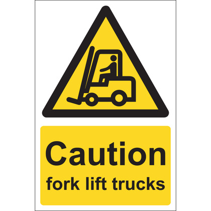 Caution Fork Lift Trucks Sign, 20x30cm, Rigid