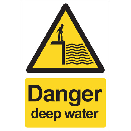 Danger Deep Water Sign, Rigid 20x30cm