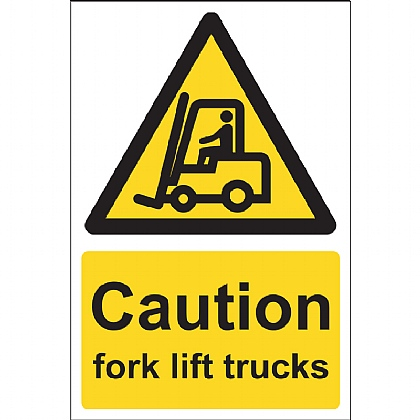 Caution Fork Lift Trucks Sign, 15x20cm, Vinyl