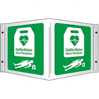 Projecting 3D AED Defibrillator Heart Restarter Rigid Sign, 35x20cm