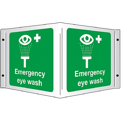 Projecting 3D Emergency Eye Wash Rigid Sign, 35x20cm