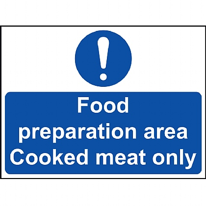 Food Preparation Area Cooked Meat Only VINYL 20x15cm
