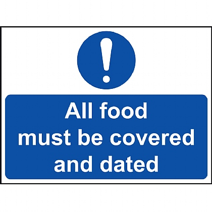 All Food Must Be Covered and Dated VINYL sign 20x15cm