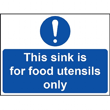 'This Sink for Food Utensils Only' Vinyl Sign 20x15cm