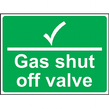 Gas Shut Off Valve Vinyl Sign 20x15cm