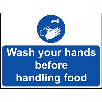 'Wash Your Hands Before Handling Food' Vinyl Sign 20x15cm
