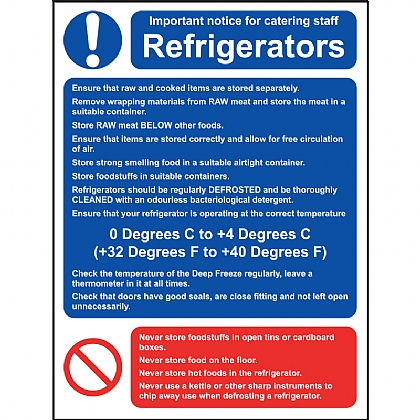 Refrigerators Guidance Notice Vinyl Sign 15x20cm