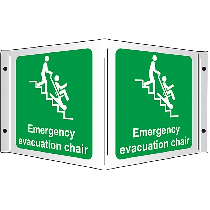 Emergency Evacuation Chair Rigid 3D Projecting Sign 43x20cm