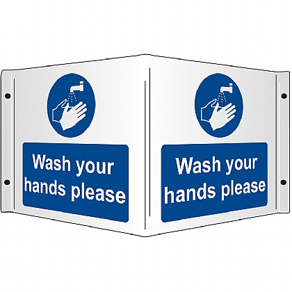 Wash your Hands Rigid 3D Projecting Sign 43x20cm