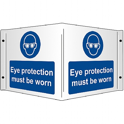 Eye Protection Must be Worn Rigid 3D Projecting Sign 43x20cm