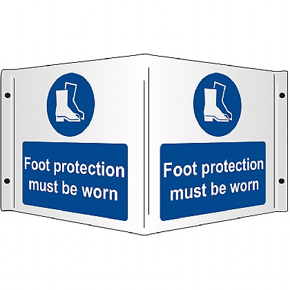 Foot Protection Must be Worn Rigid 3D Projecting Sign 43x20cm