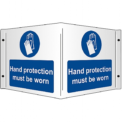 Hand Protection Must be Worn Rigid 3D Projecting Sign 43x20cm