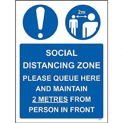 Social Distancing Zone Please Queue Here 1mm Rigid PVC 300x400mm