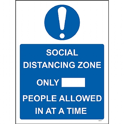 Social Dist Zone Only (LTD) People Allowed In 1mm Rigid PVC 300x400mm