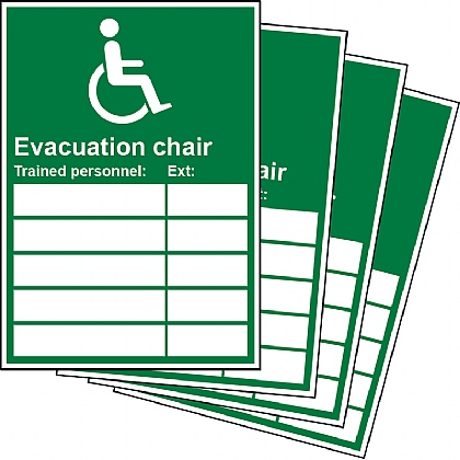 Evacuation Chair Trained Personnel Updateable Sign A5