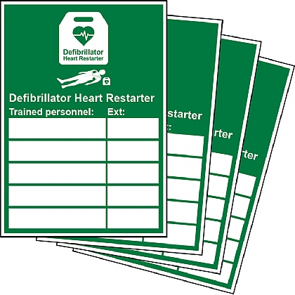 Defibrillator Trained Personnel Updateable Sign A5